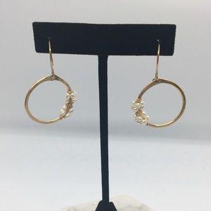 Gold & Pearl Hoop Drop Earrings